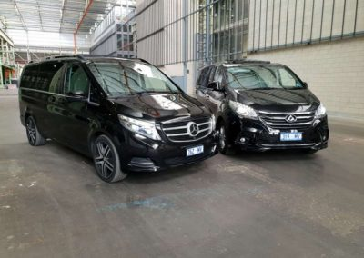 Two of our chauffeur driven vans a Mercedes V Class and LDV both available for hire with a driver 7 days a week