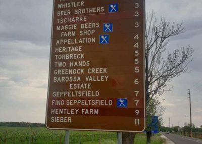 A sign in the Barossa showing the diversity of choices available on winery tours conducted by Grandeur Limos